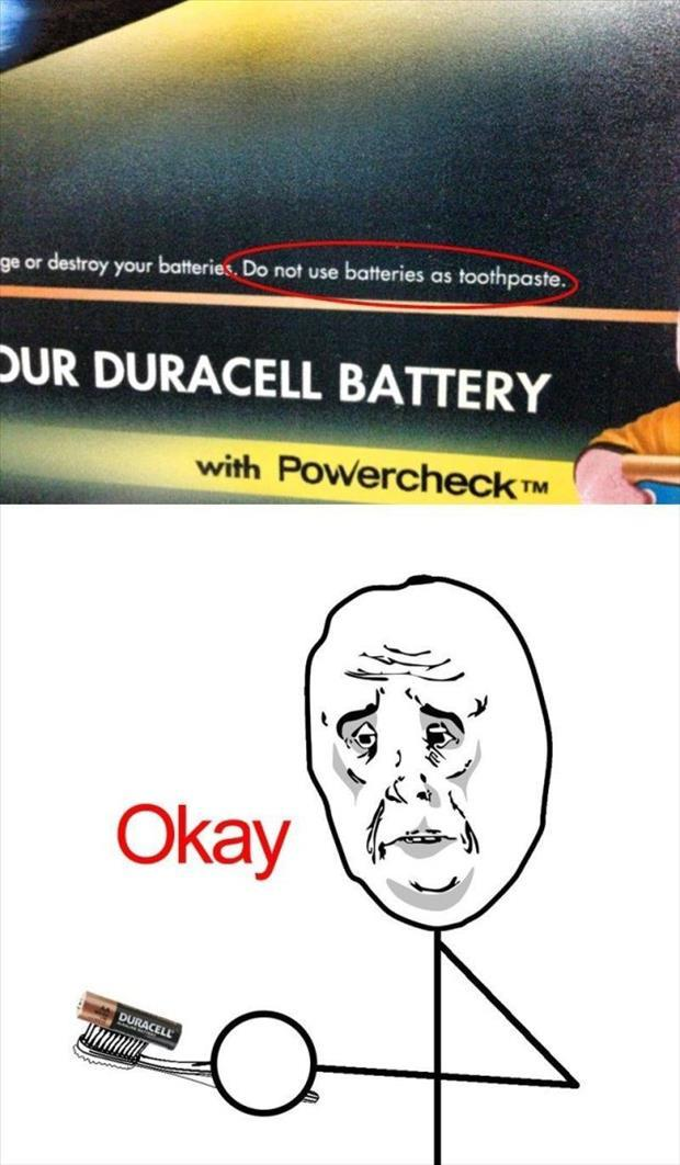 Batteries as toothpaste