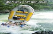 Filled raft with helium