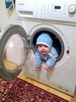 Baby in a Washing machine